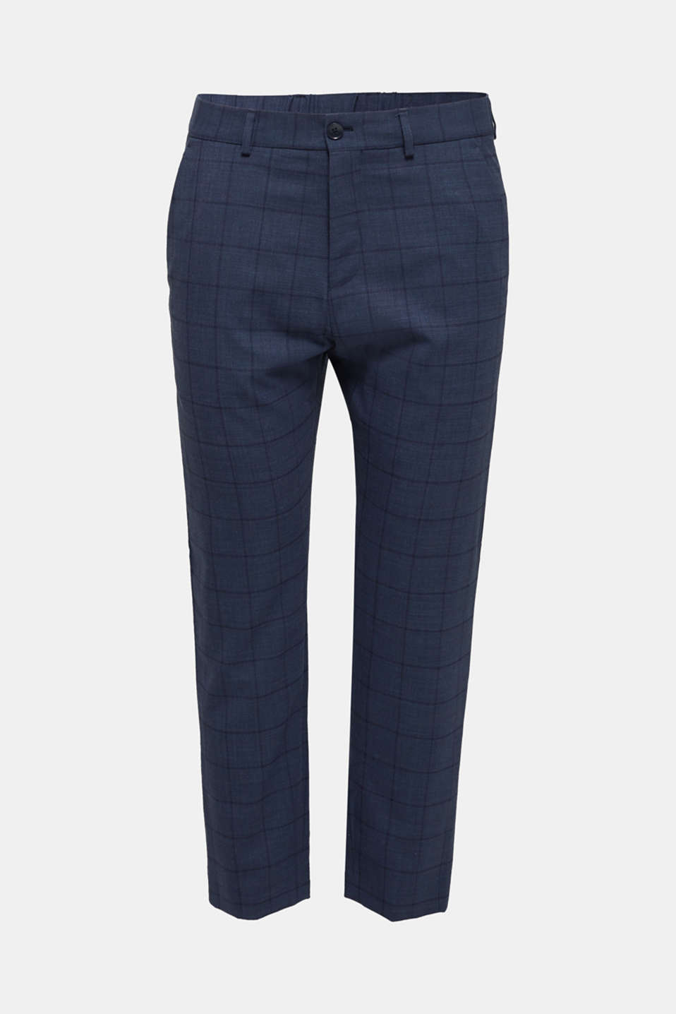COOLMAX® CHECK mix + match: wool blend trousers, GREY BLUE 3, detail image number 6