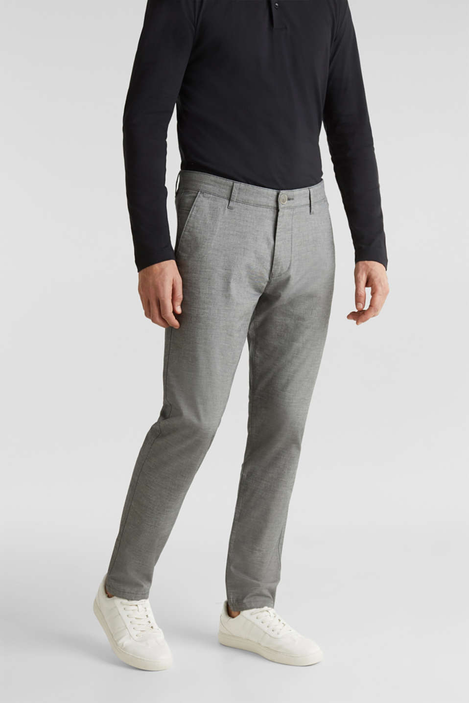 Esprit - Chambray-chinos i bomullsstretch