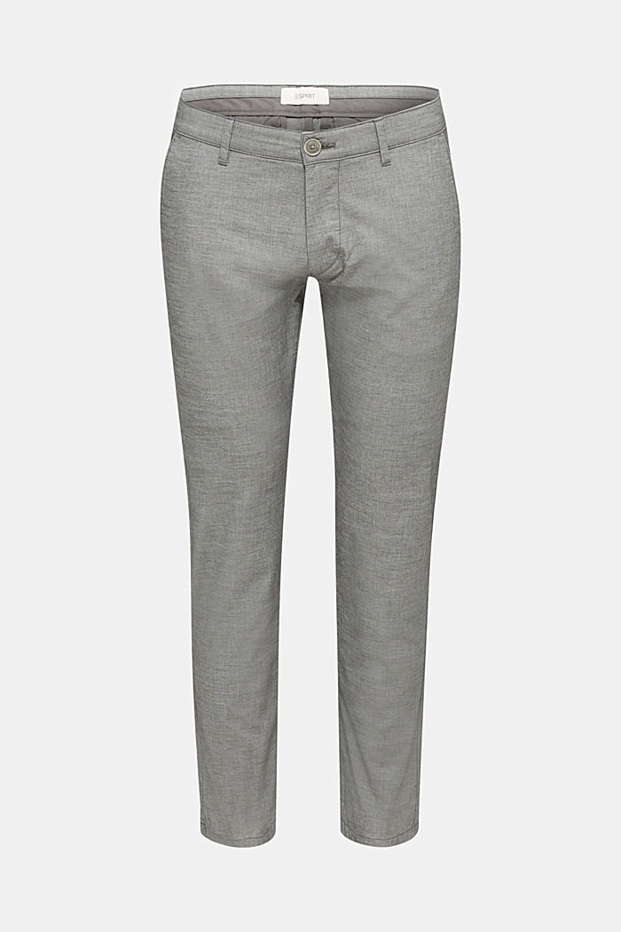 Chambray chinos in stretch cotton, DARK GREY, detail image number 0