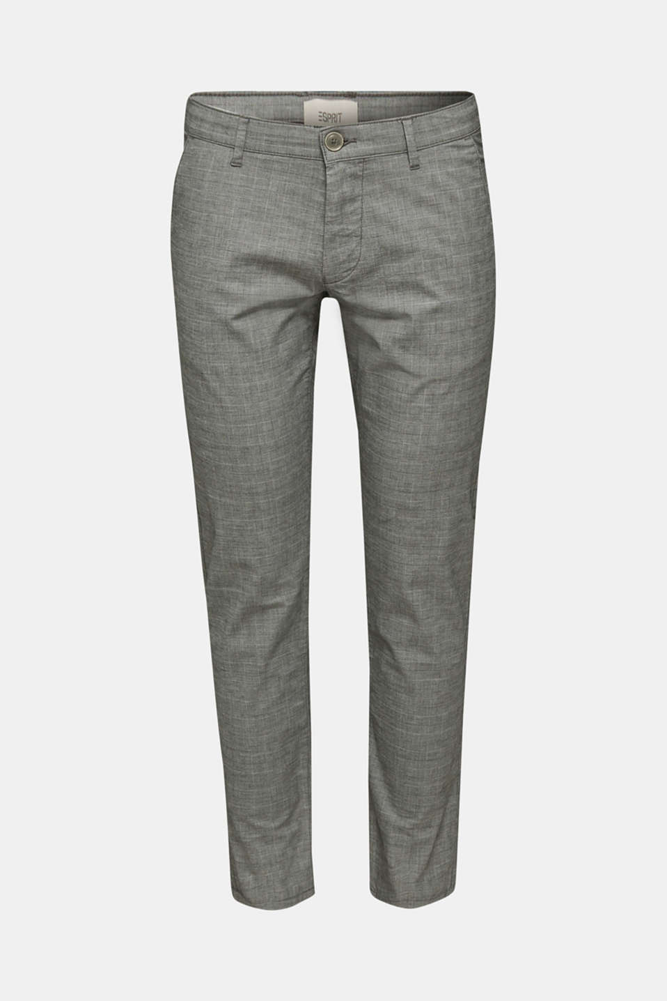 Stretch chinos with a fine check pattern, DARK GREY 3, detail image number 6