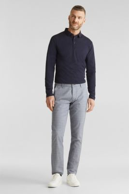 Stretch chinos with a fine check pattern, DARK BLUE 5, detail