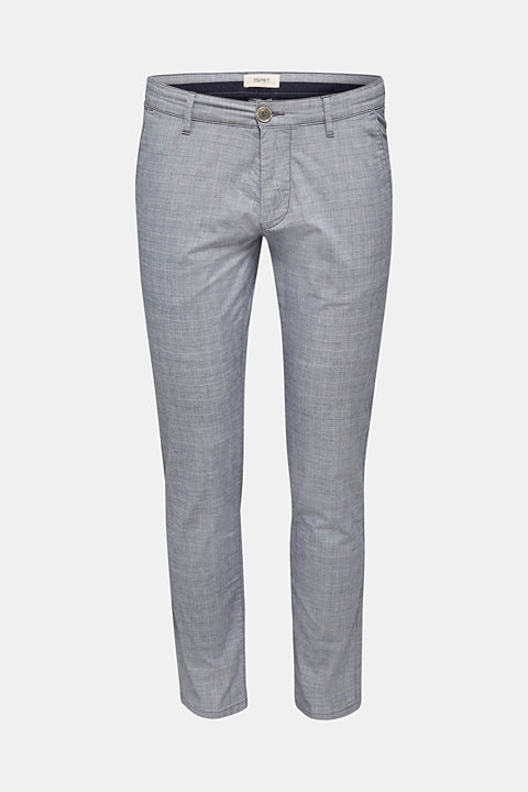 Stretch chinos with a fine check pattern