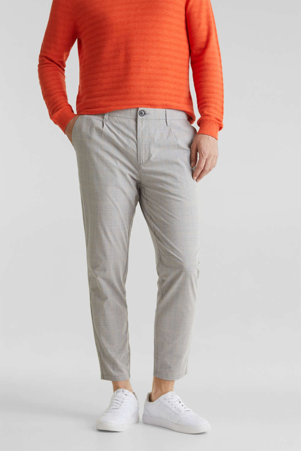 Esprit - Prince of Wales check chinos with stretch and organic cotton