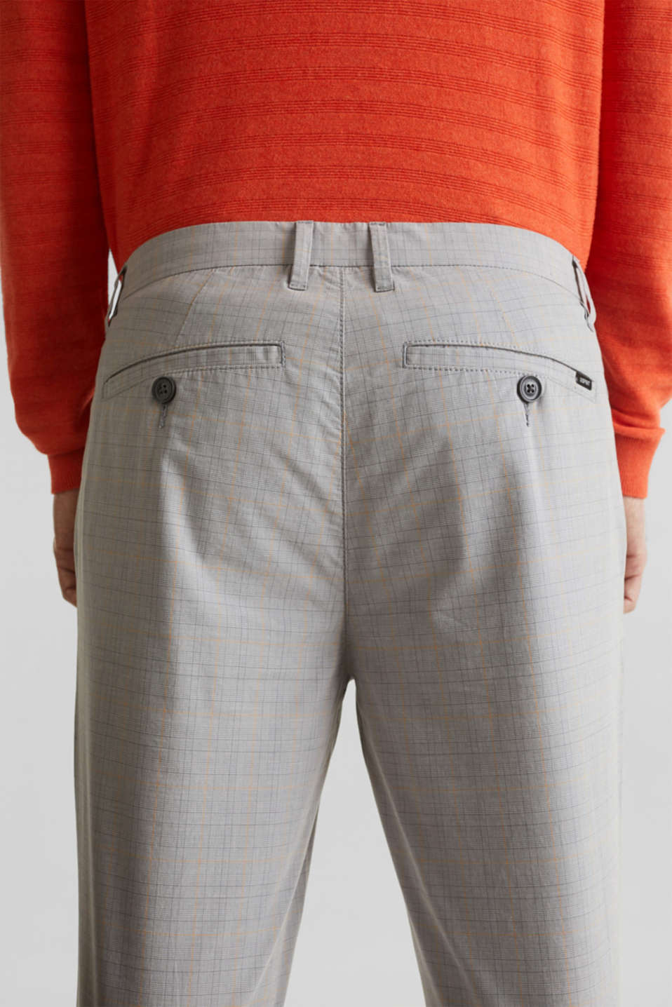 Prince of Wales check chinos with stretch and organic cotton, LIGHT GREY 3, detail image number 5
