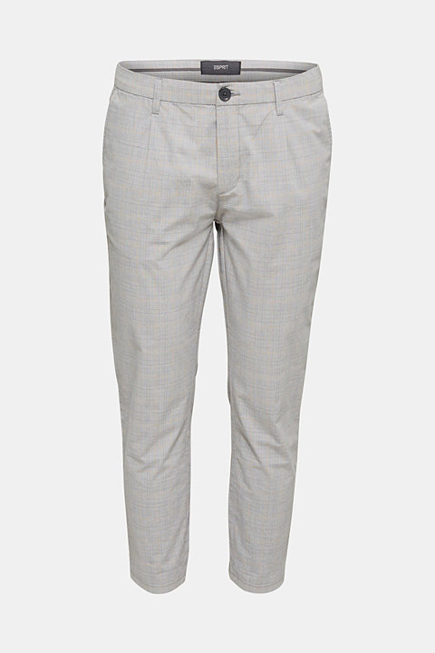 Prince of Wales check chinos with stretch and organic cotton