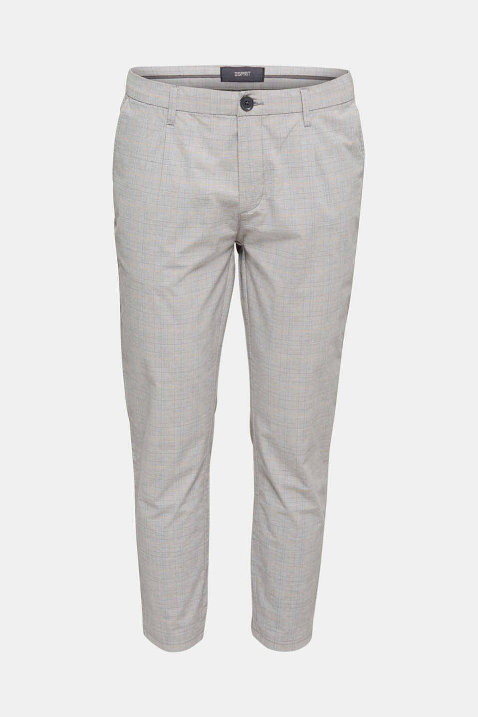 Prince of Wales check chinos with stretch and organic cotton, LIGHT GREY 3, detail image number 6