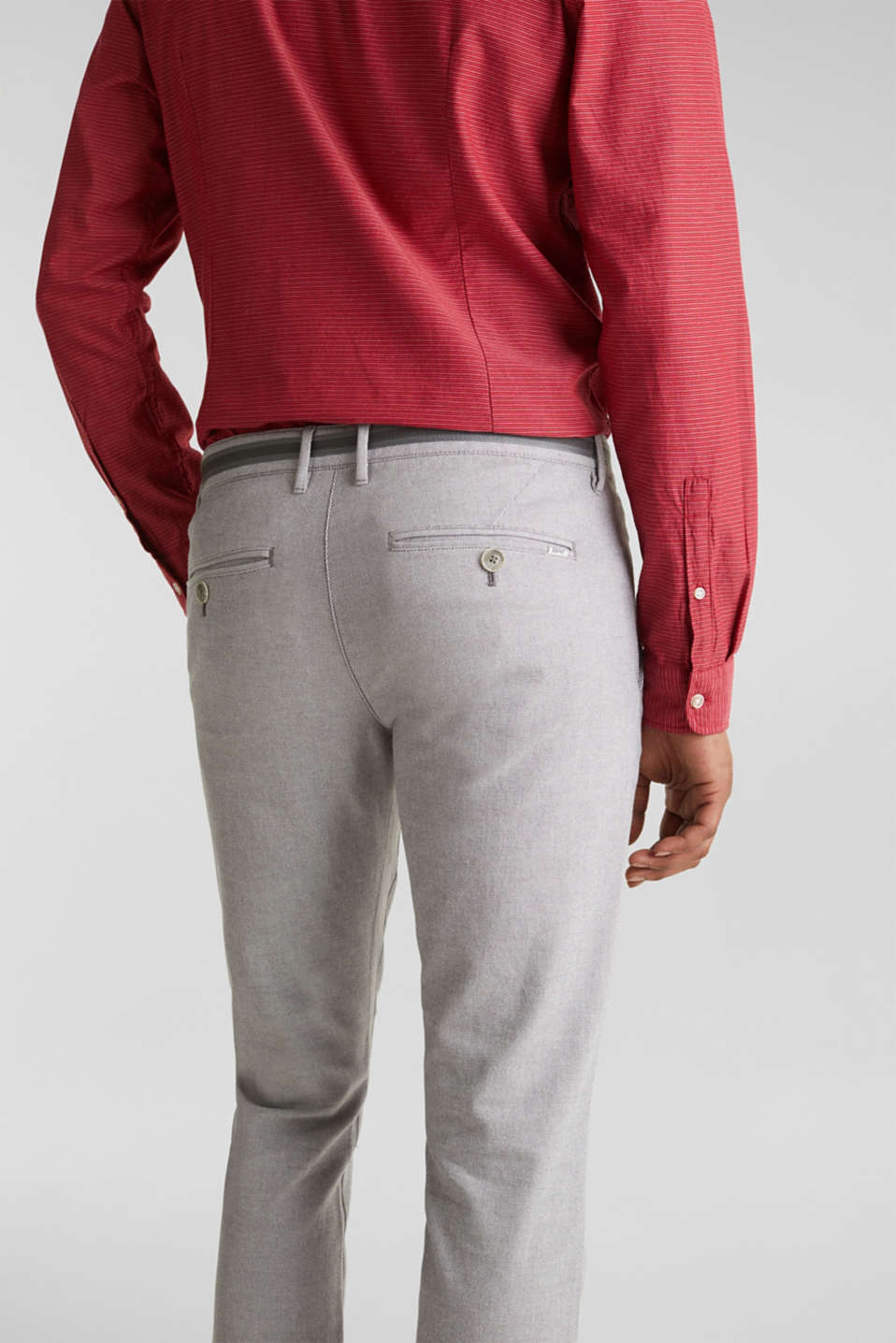 Textured trousers made of stretch cotton, DARK GREY, detail image number 5