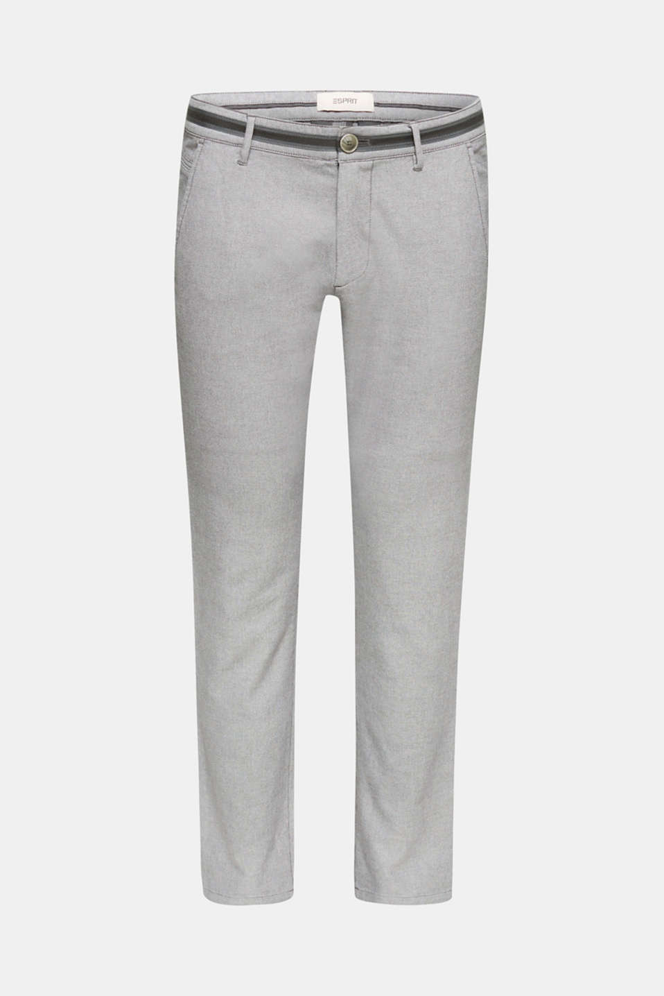 Textured trousers made of stretch cotton, DARK GREY, detail image number 7