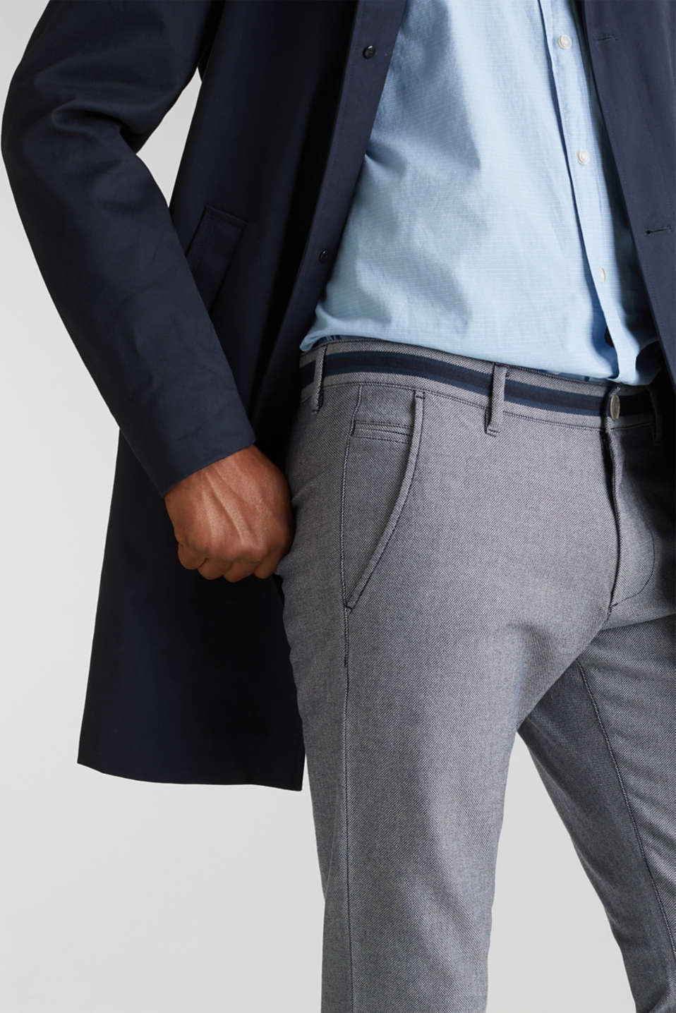 Textured trousers made of stretch cotton, DARK BLUE, detail image number 6