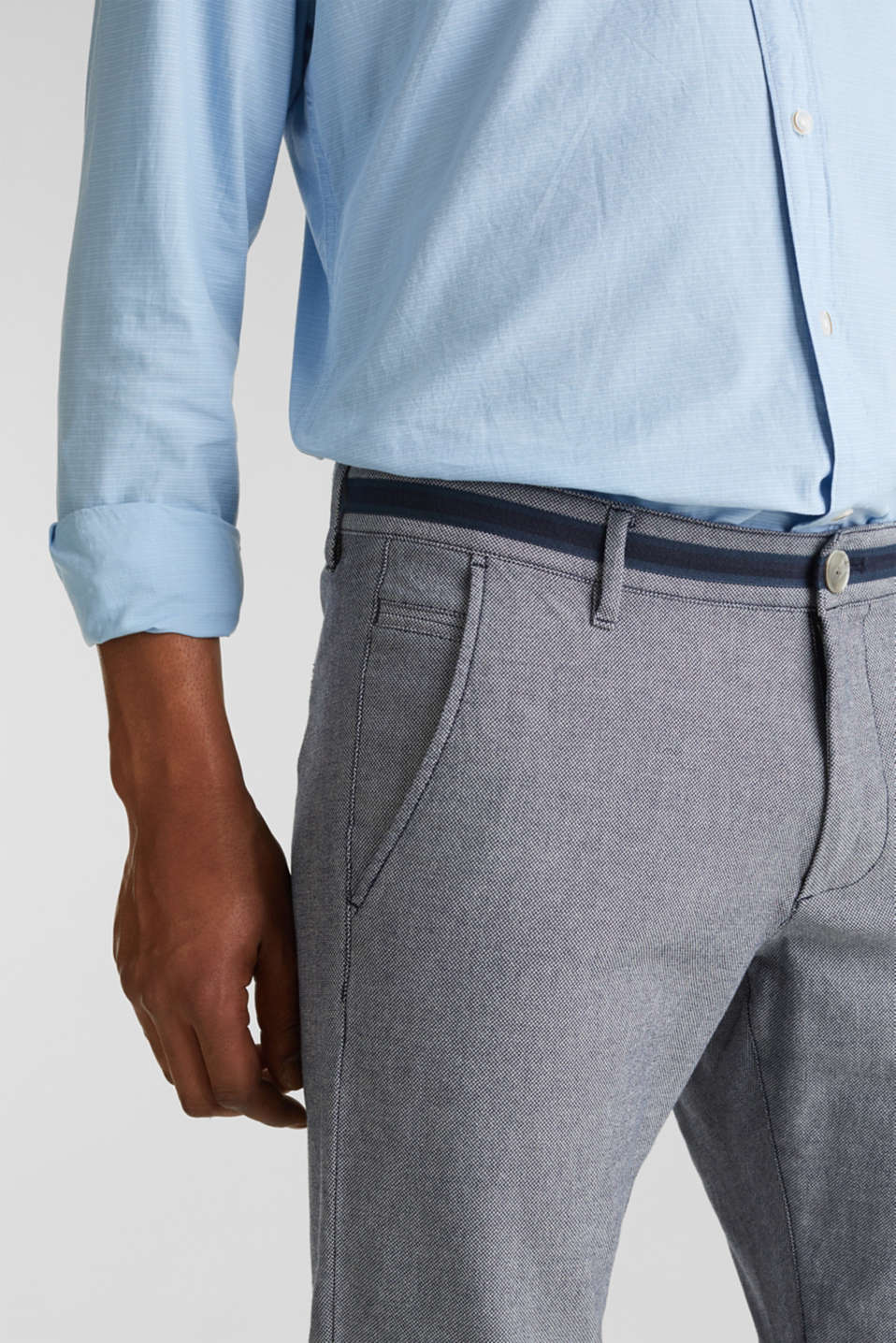 Textured trousers made of stretch cotton, DARK BLUE, detail image number 2