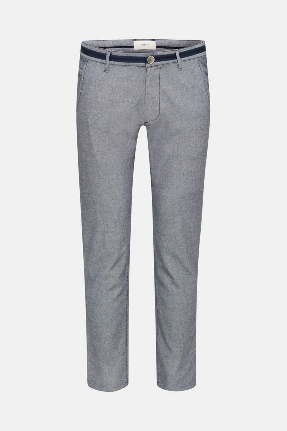 Textured trousers made of stretch cotton, DARK BLUE, detail image number 8