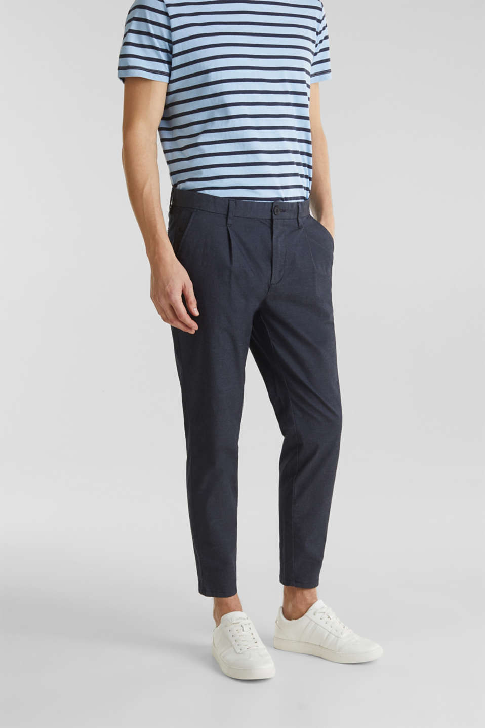 Stretch chinos with COOLMAX®, NAVY, detail image number 6