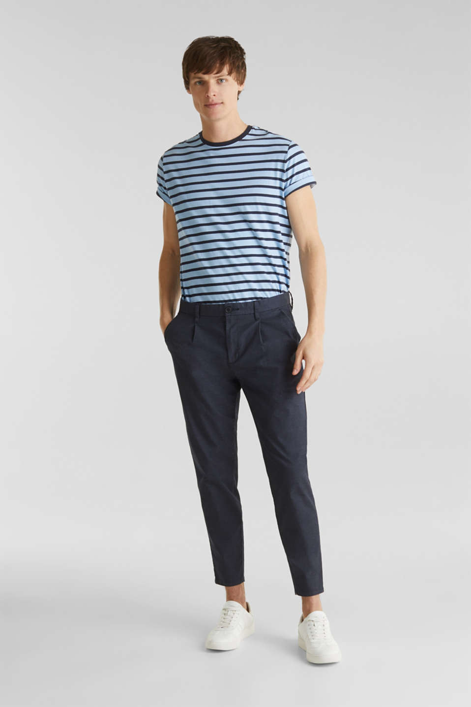 Stretch chinos with COOLMAX®, NAVY, detail image number 1