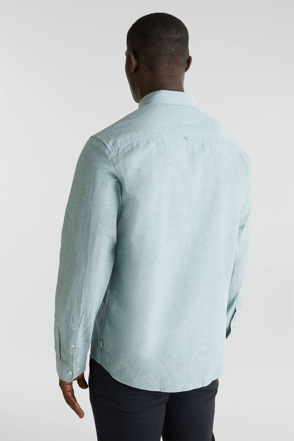Shirt with linen and a button-down collar, TEAL GREEN 5, detail image number 3