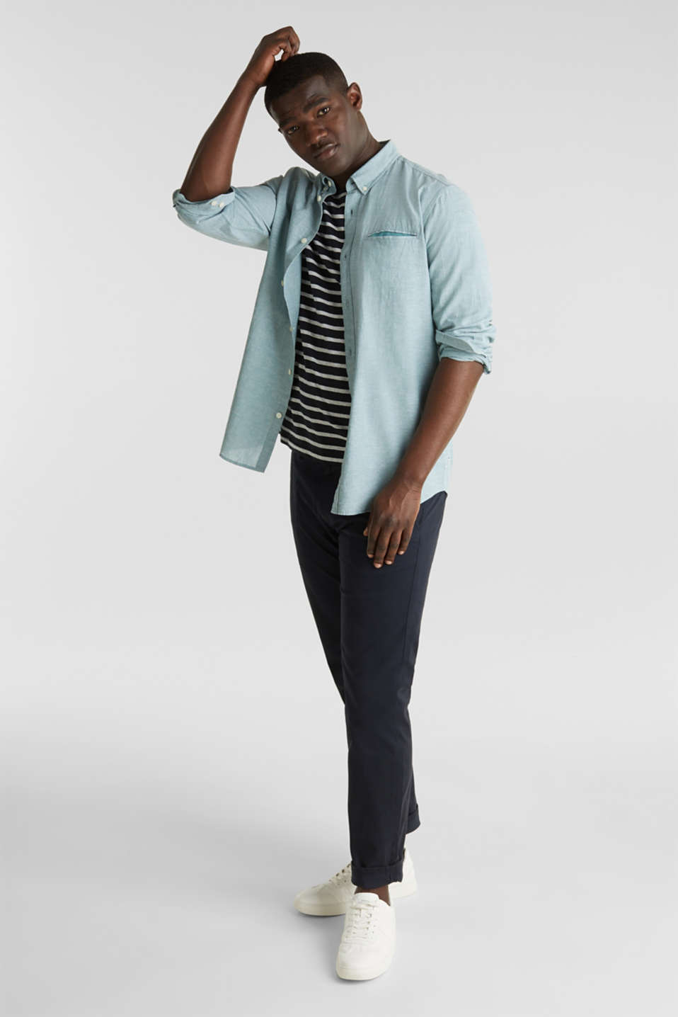 Shirt with linen and a button-down collar, TEAL GREEN 5, detail image number 1