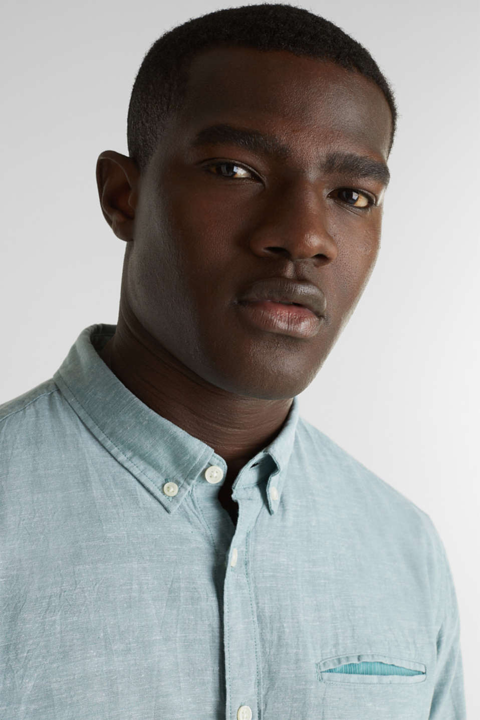 Shirt with linen and a button-down collar, TEAL GREEN 5, detail image number 2