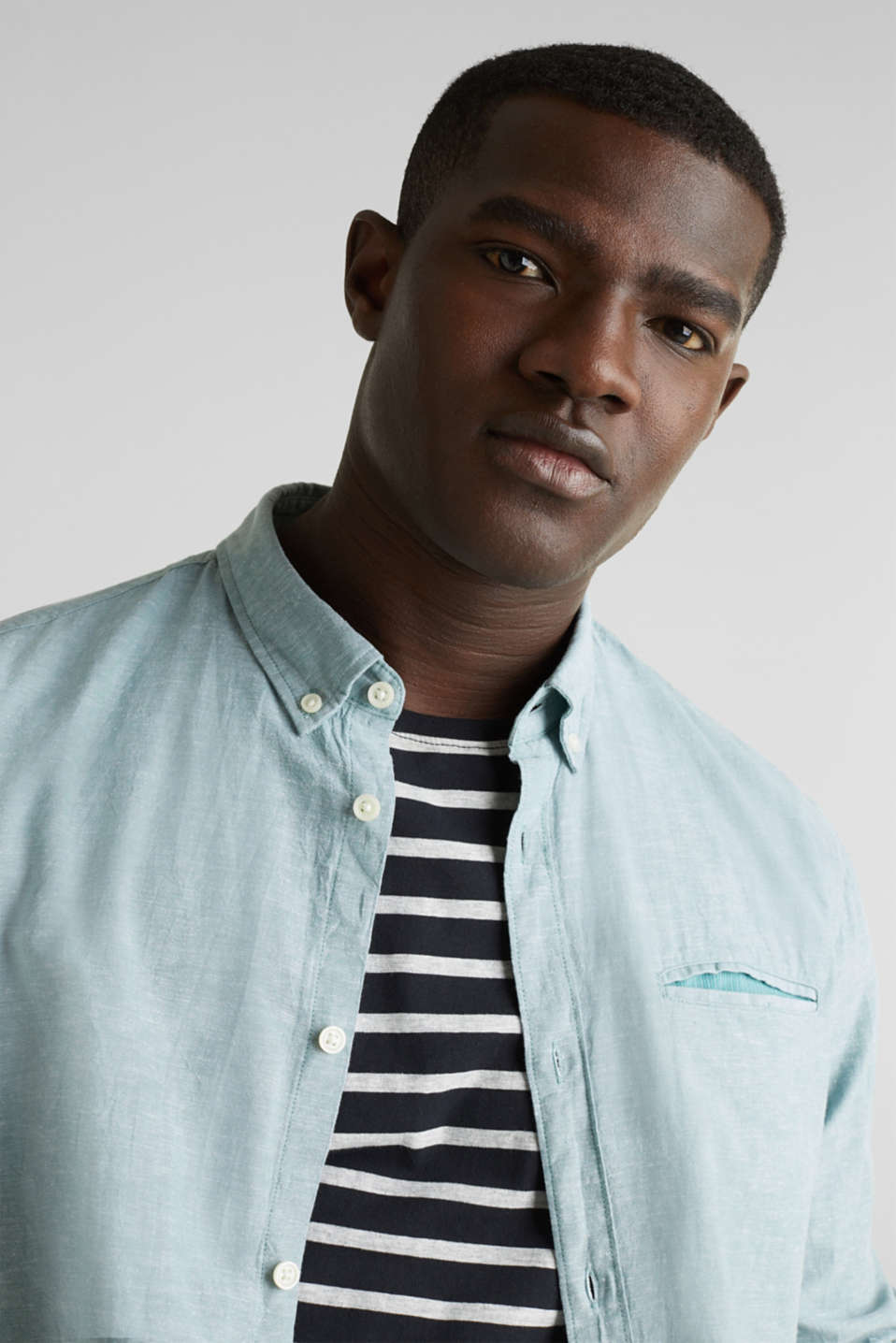 Shirt with linen and a button-down collar, TEAL GREEN 5, detail image number 5