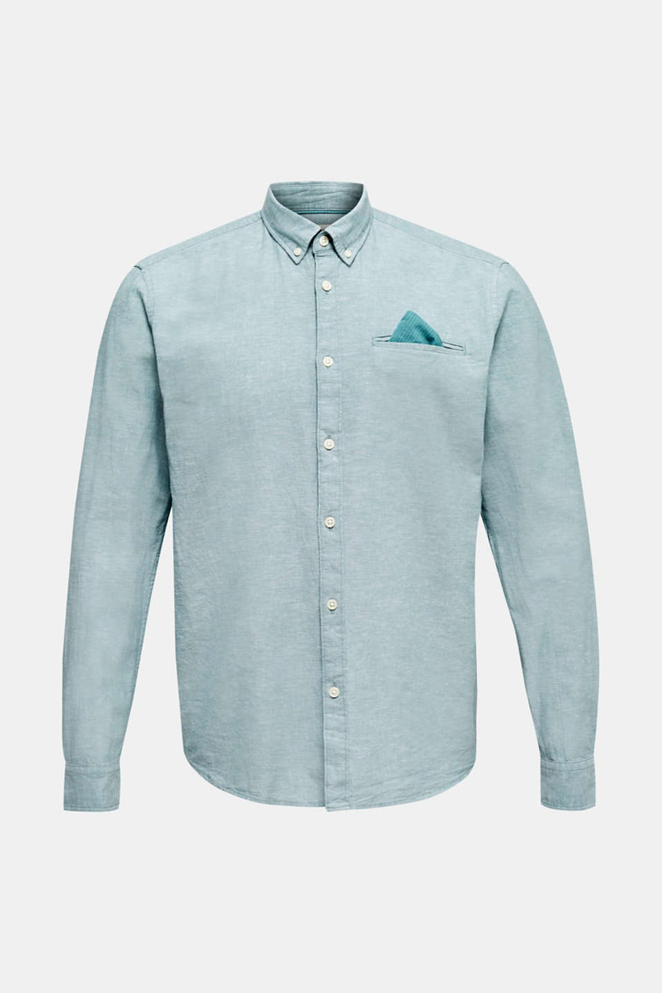 Shirt with linen and a button-down collar, TEAL GREEN 5, detail image number 6