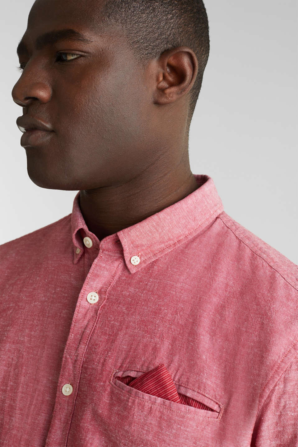 Shirt with linen and a button-down collar, RED 5, detail image number 2