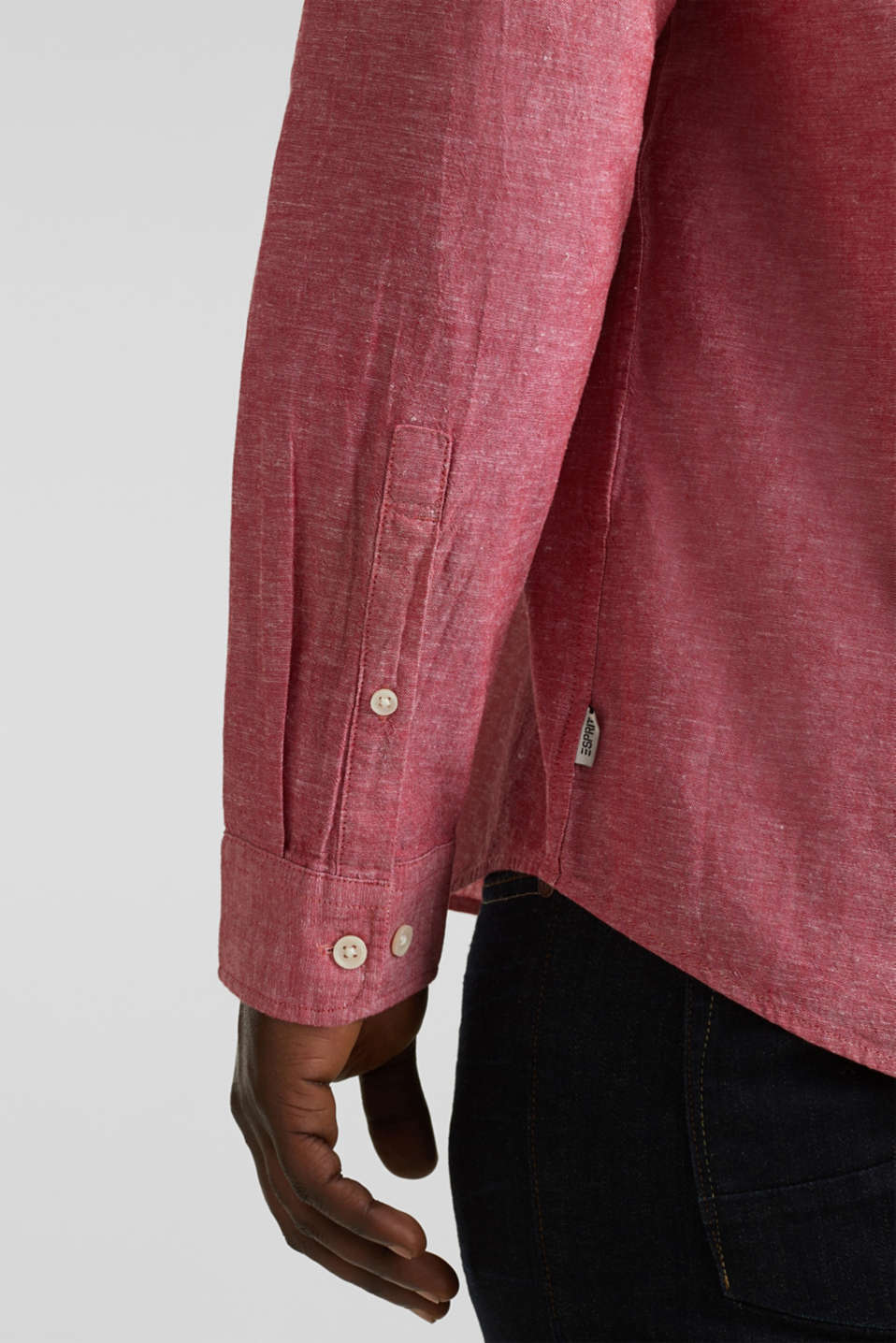 Shirt with linen and a button-down collar, RED 5, detail image number 5