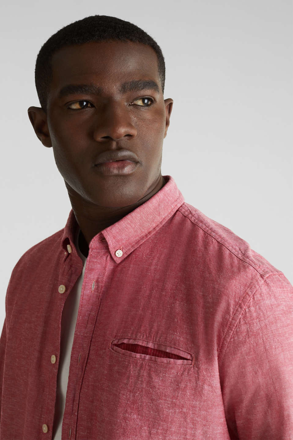 Shirt with linen and a button-down collar, RED 5, detail image number 6