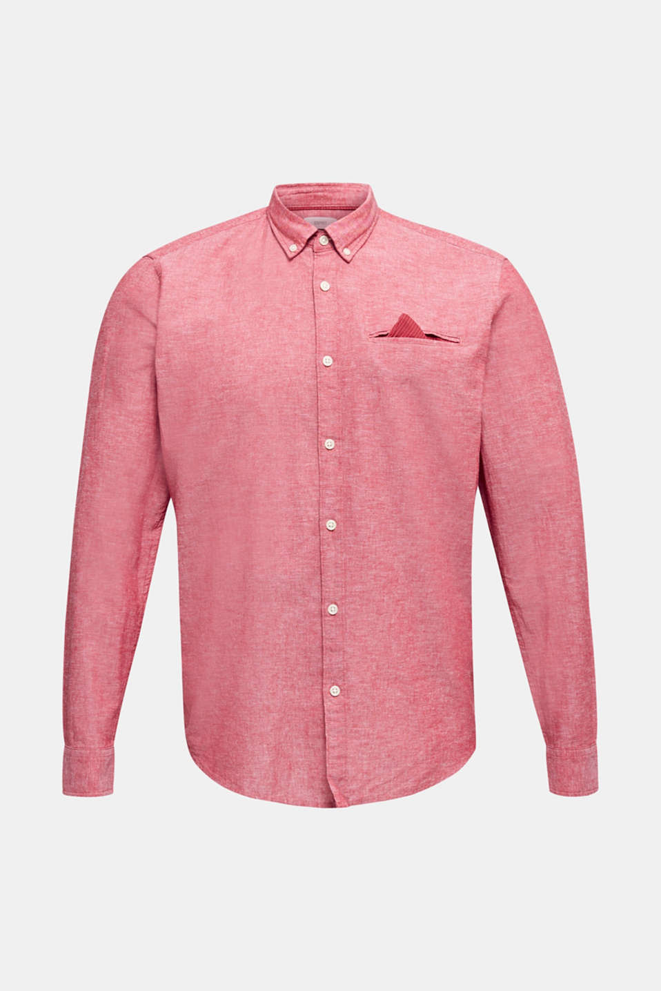 Shirt with linen and a button-down collar, RED 5, detail image number 7