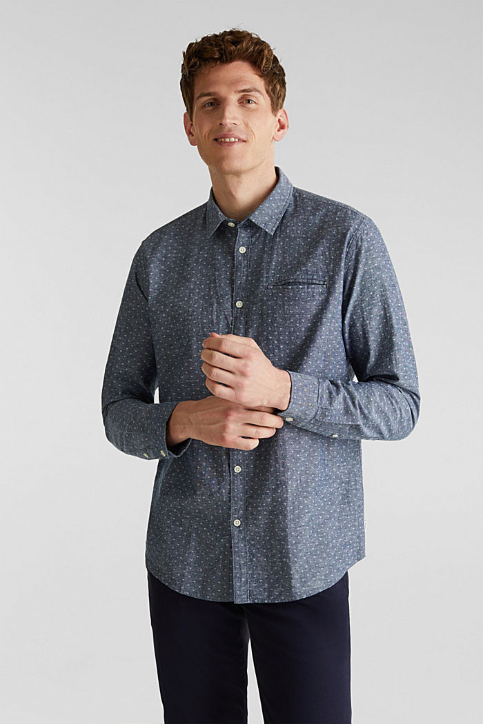 Blended linen: Shirt with a micro pattern