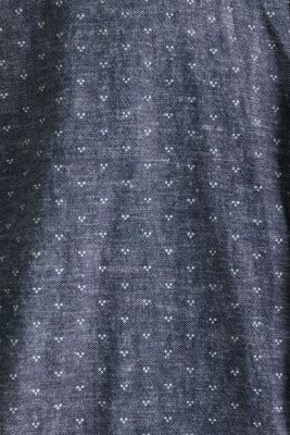 Blended linen: Shirt with a micro pattern, DARK BLUE 4, detail