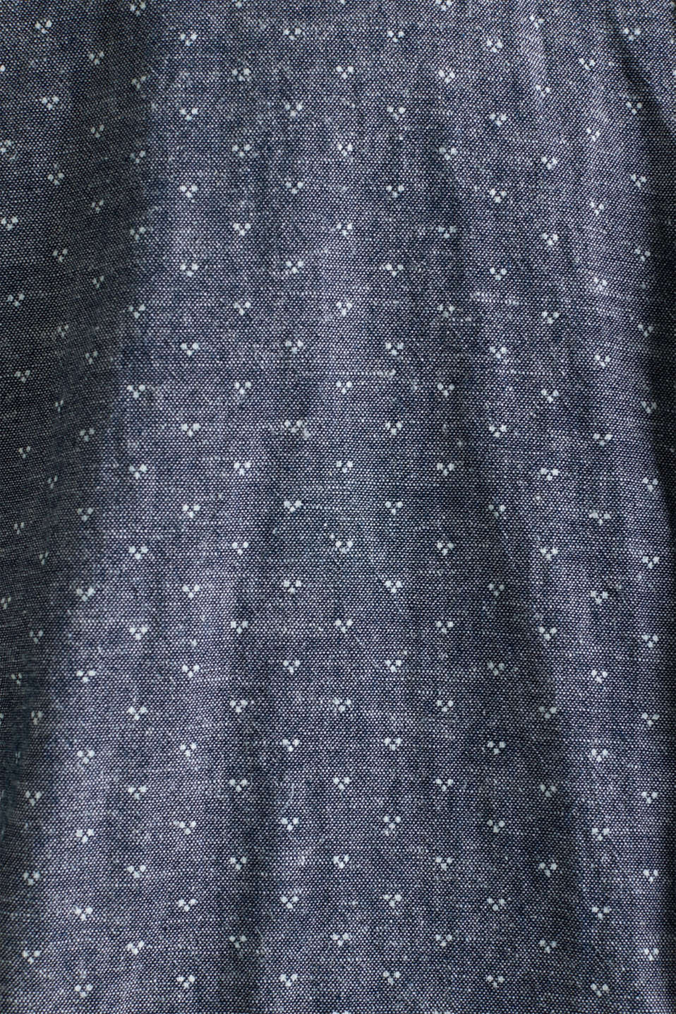 Blended linen: Shirt with a micro pattern, DARK BLUE 4, detail image number 3