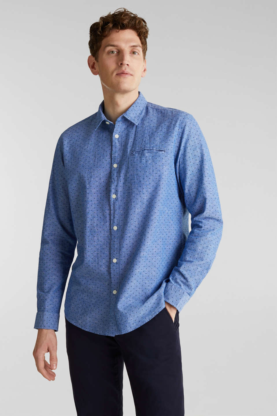 Blended linen: Shirt with a micro pattern, LIGHT BLUE 4, detail image number 0