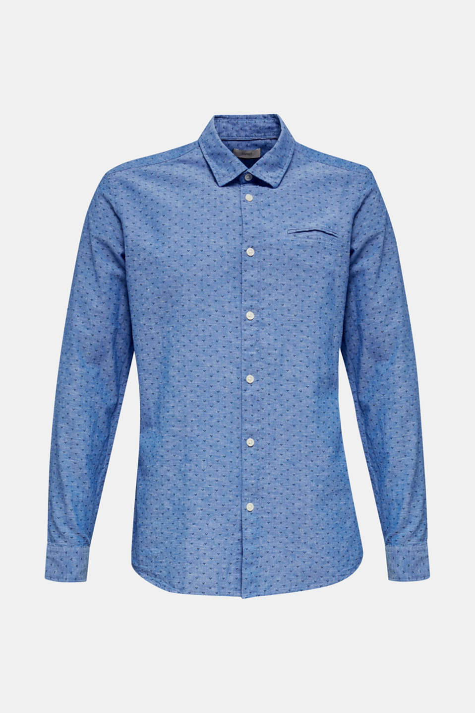 Blended linen: Shirt with a micro pattern, LIGHT BLUE 4, detail image number 5