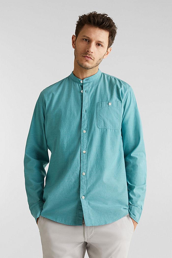 Hemd mit Stehkragen, 100% Baumwolle, TEAL GREEN, detail image number 0