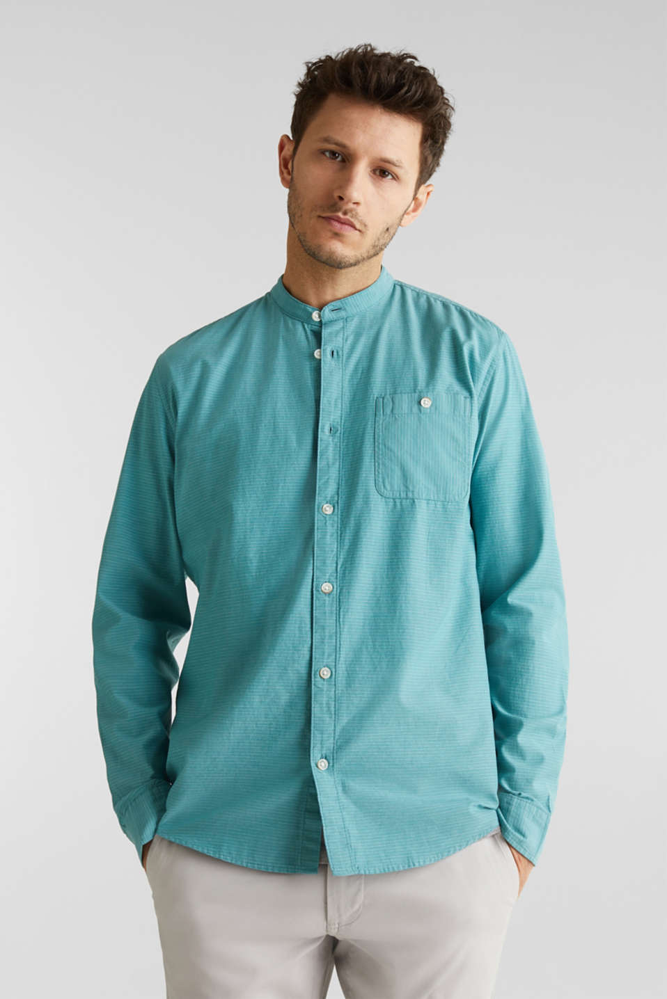 Shirt with band collar, 100% cotton, TEAL GREEN 3, detail image number 0