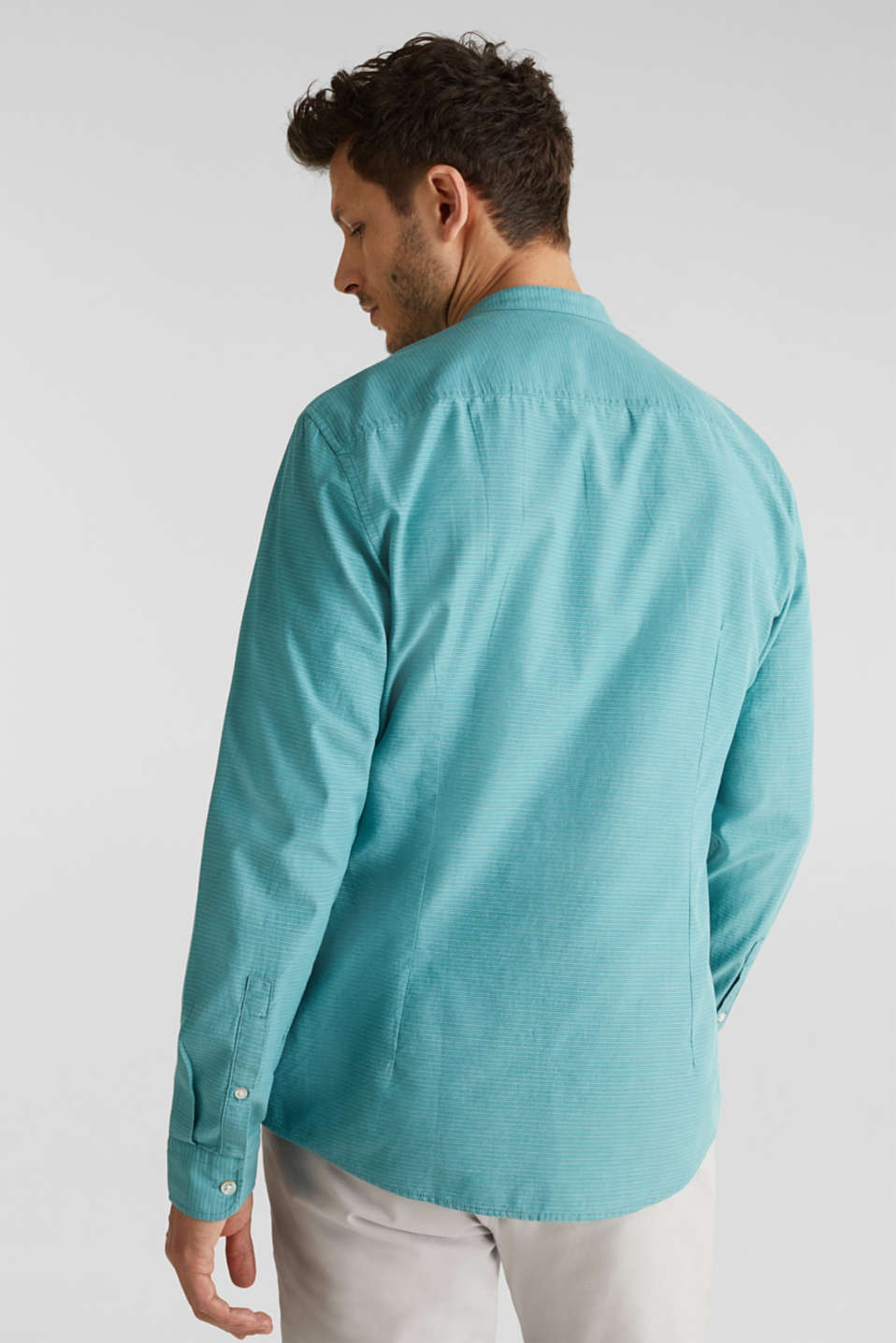 Shirt with band collar, 100% cotton, TEAL GREEN 3, detail image number 2