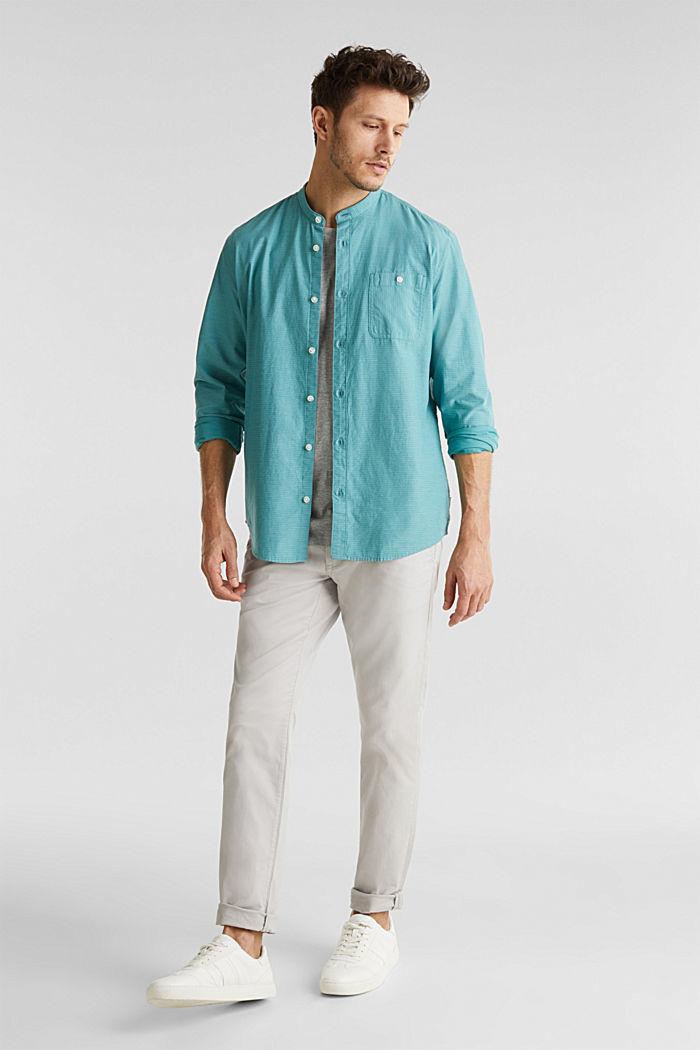 Hemd mit Stehkragen, 100% Baumwolle, TEAL GREEN, detail image number 1