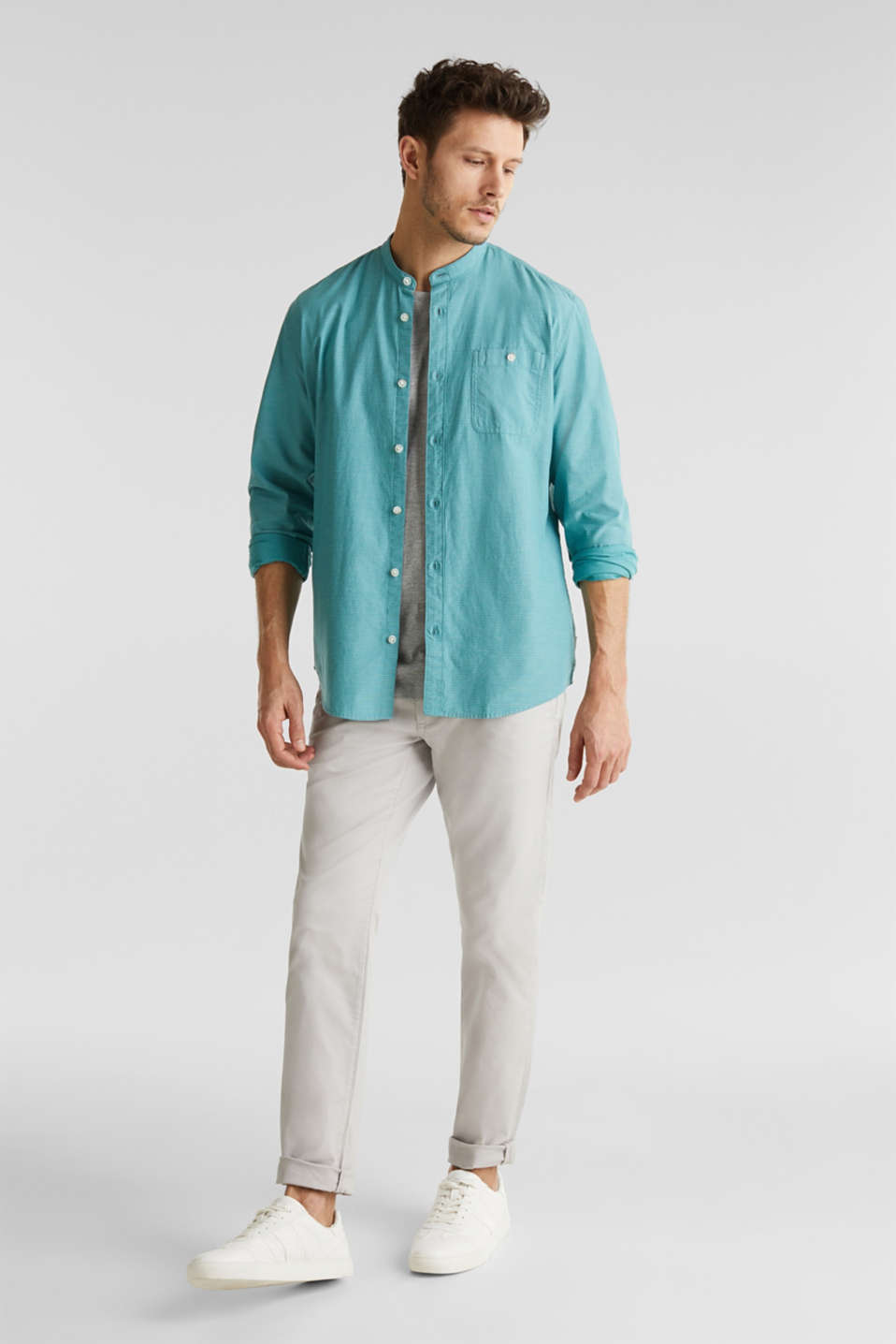 Shirt with band collar, 100% cotton, TEAL GREEN 3, detail image number 1