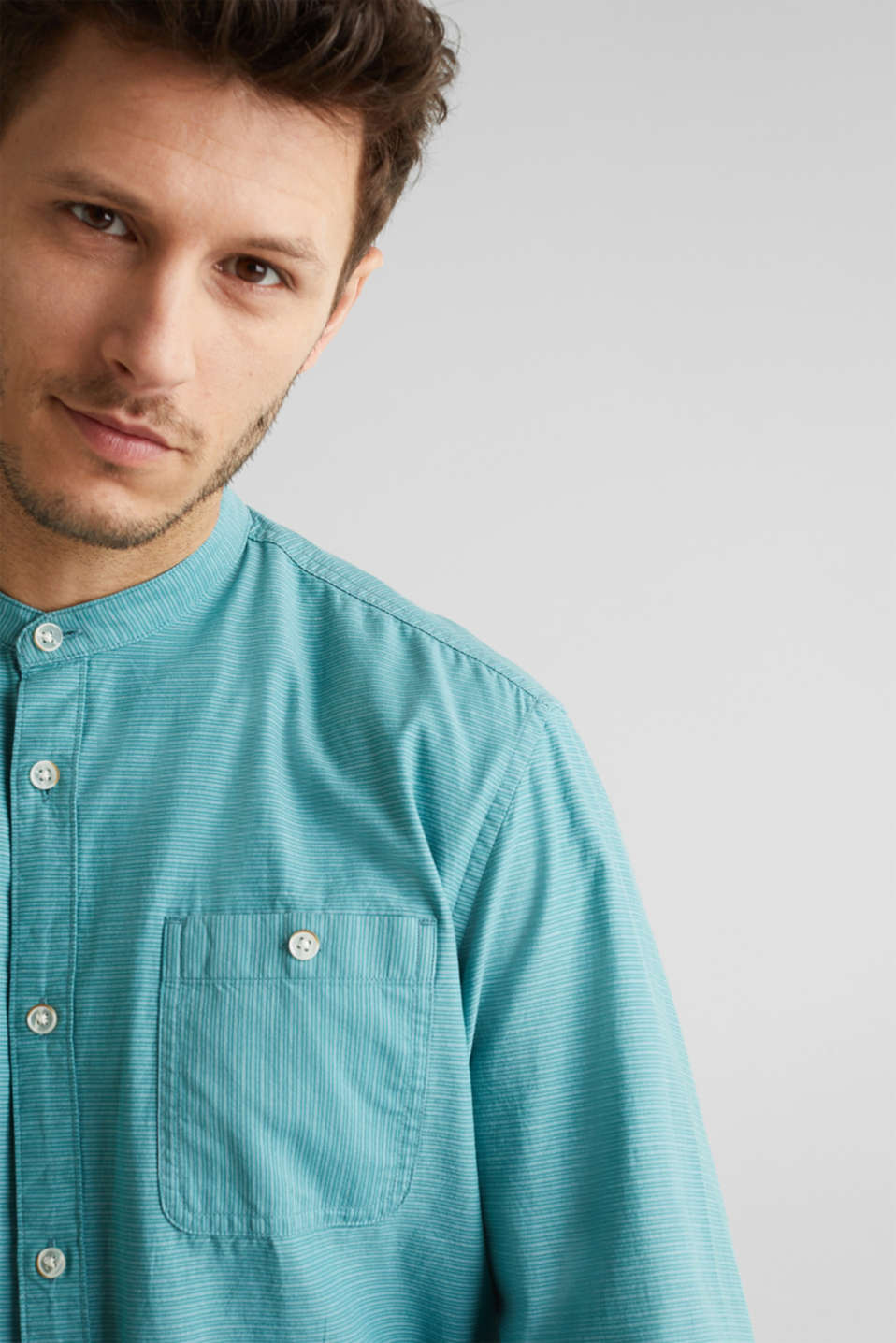 Shirt with band collar, 100% cotton, TEAL GREEN 3, detail image number 4