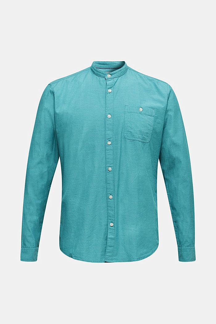 Hemd mit Stehkragen, 100% Baumwolle, TEAL GREEN, detail image number 5