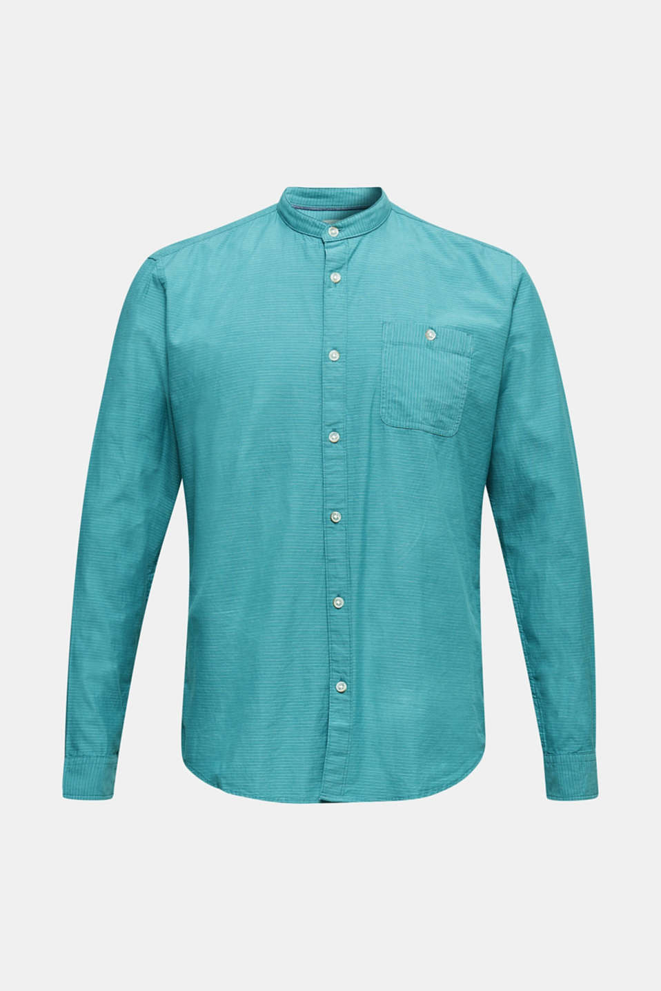 Shirt with band collar, 100% cotton, TEAL GREEN 3, detail image number 5