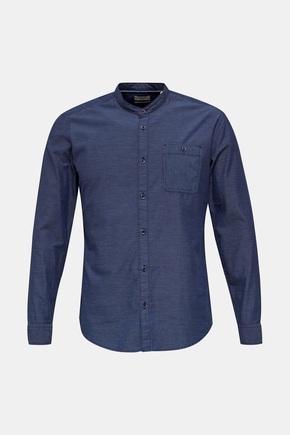 Shirt with band collar, 100% cotton, DARK BLUE 3, detail image number 6