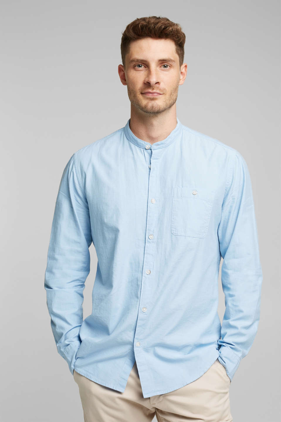 Shirt with band collar, 100% cotton, LIGHT BLUE, detail image number 0