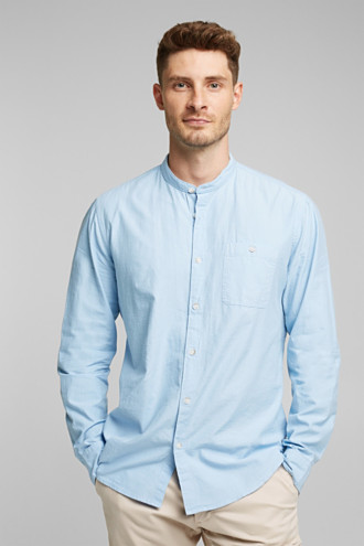 Shirt with band collar, 100% cotton