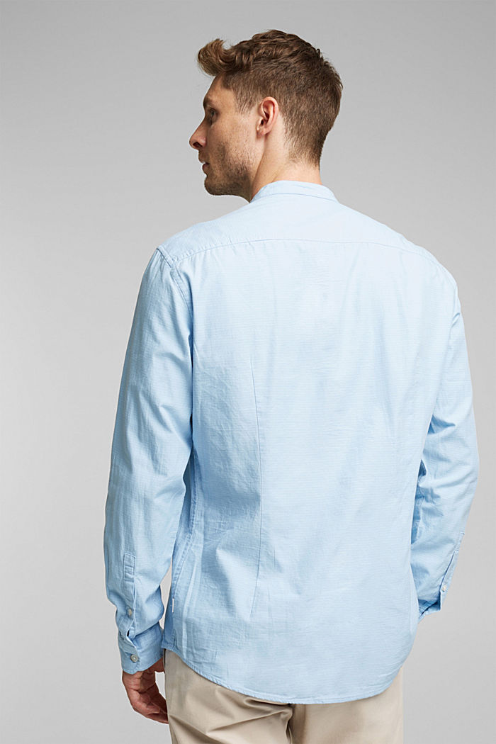 Shirt with band collar, 100% cotton, LIGHT BLUE, detail image number 3