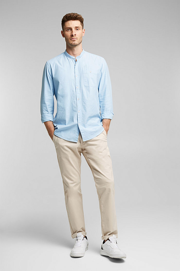 Shirt with band collar, 100% cotton, LIGHT BLUE, detail image number 1