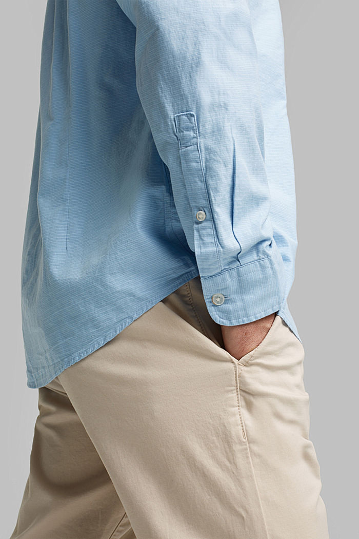 Shirt with band collar, 100% cotton, LIGHT BLUE, detail image number 2