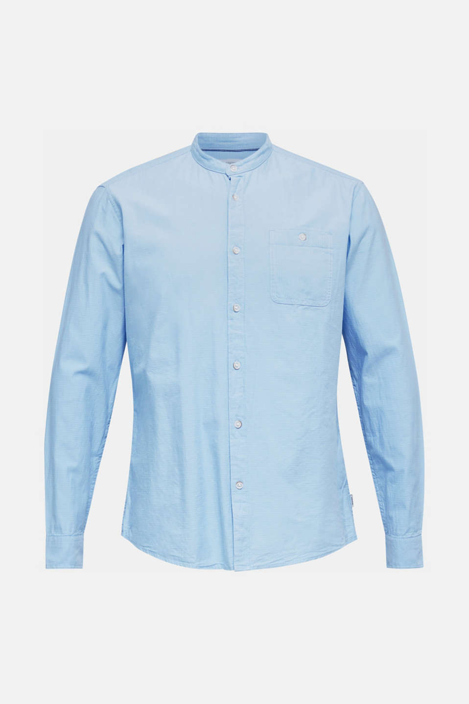 Shirt with band collar, 100% cotton, LIGHT BLUE, detail image number 7