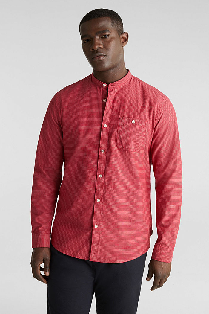 Shirt with band collar, 100% cotton, RED, detail image number 0