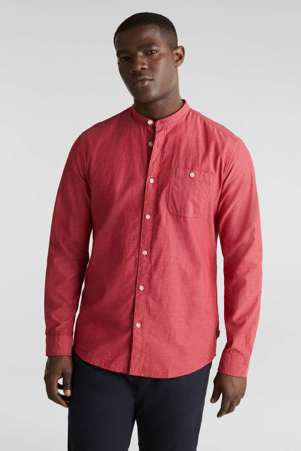 Shirt with band collar, 100% cotton, RED 3, detail image number 0