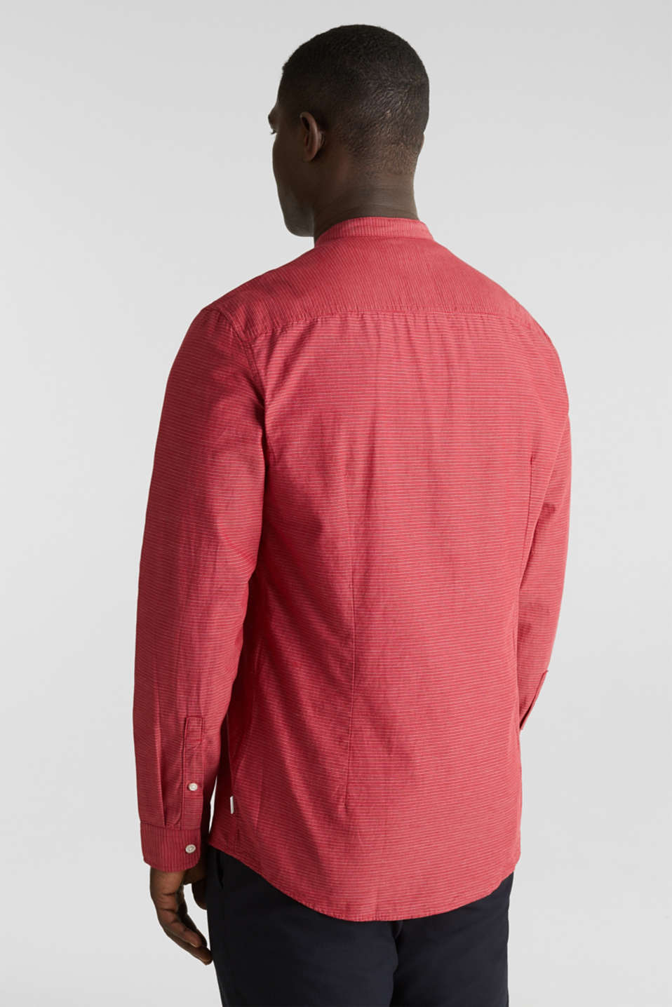 Shirt with band collar, 100% cotton, RED 3, detail image number 3