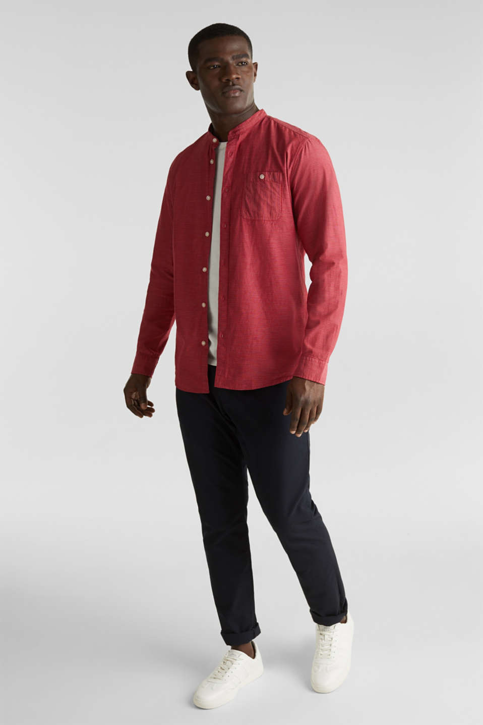 Shirt with band collar, 100% cotton, RED 3, detail image number 1
